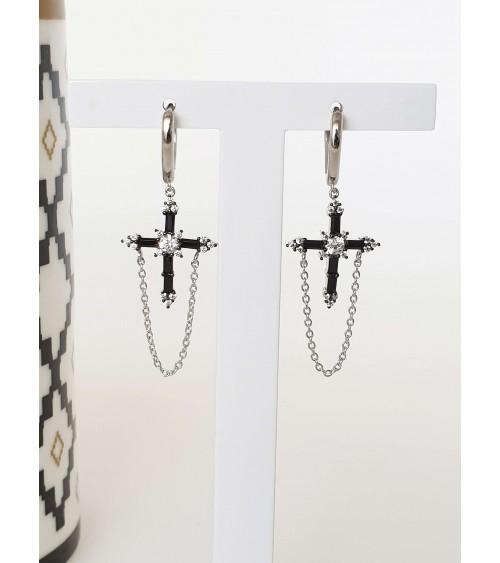 Boucles d'oreilles créoles en argent 925/1000ème rhodié avec une croix et une chaînette