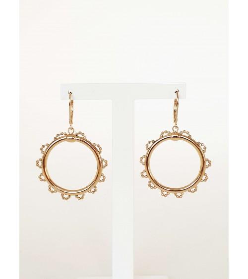 Boucles d'oreilles rondes avec motif dentelé autour, en plaqué or, avec fermeture dormeuse