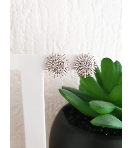"""Boucles d'oreilles """"soleil"""" en argent 925/1000 rhodié et oxydes de zirconium, avec poussettes"""