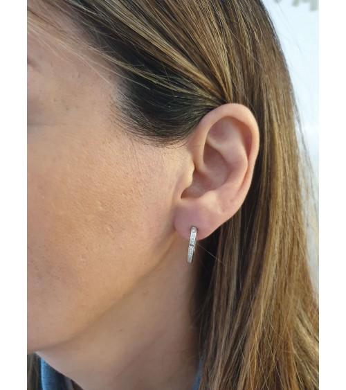 Boucles d'oreilles créoles en argent 925/1000 rhodié et oxydes de zirconium