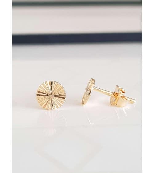 Boucles d'oreilles pastille striée en plaqué or, avec poussettes