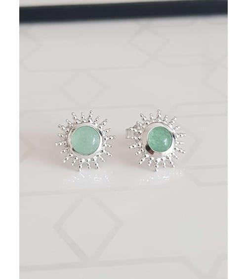 """Boucles d'oreilles """"soleil"""" en argent 925/1000 rhodié avec en son centre une pierre aventurine, avec poussettes"""