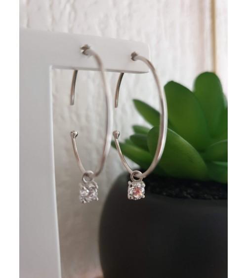 Boucles d'oreilles créoles ouvertes en argent 925/1000ème rhodié avec un oxyde zirconium
