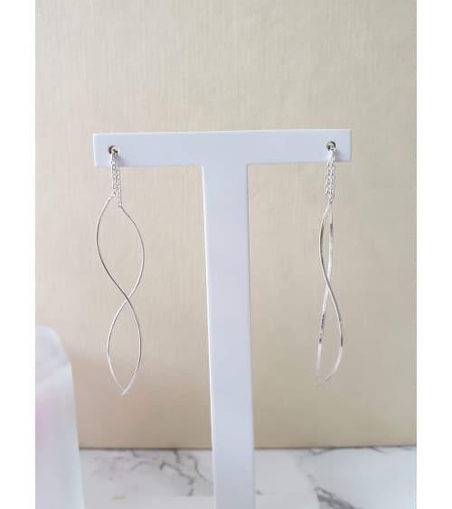 Boucles d'oreilles traversantes 1 fil ondulé et chaîne en argent 925/1000