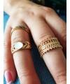 Bague anneau large ajourée en plaqué or