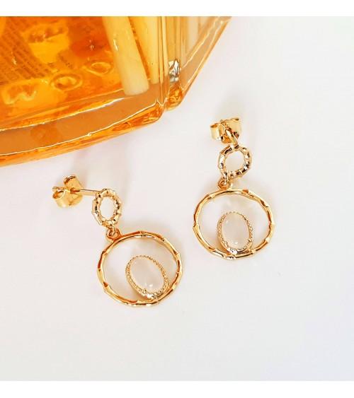 Boucles d'oreilles pendantes en plaqué or avec une pierre de lune en forme de goutte, avec poussettes