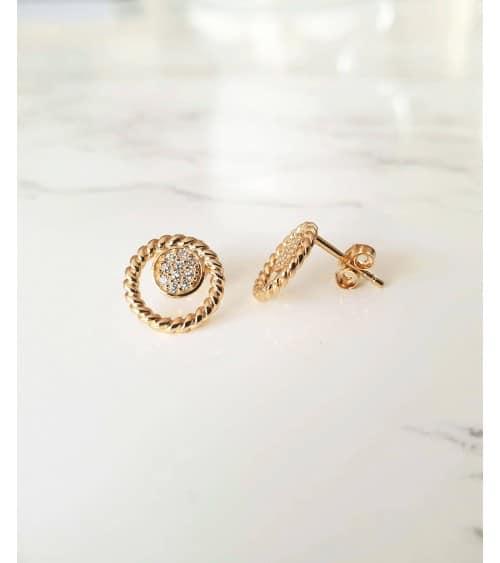 Boucles d'oreilles en plaqué or, rond torsadé comportant une pastille sertie d'oxydes de zirconium, avec poussettes
