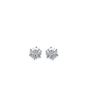 Boucles d'oreilles en argent 925/1000 rhodié avec oxyde de zirconium 6 griffes