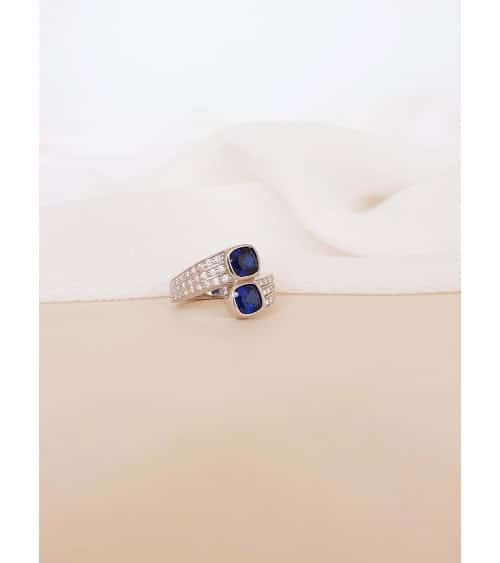 """Bague """"toi et moi"""" en argent 925/1000 rhodié et oxydes de zirconium blancs et pierre de synthèse bleue"""