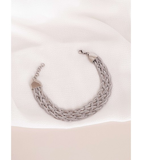 Bracelet tressé en acier, en longueur 21 cm ajustable