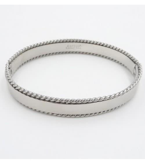 Bracelet rigide en acier avec bords au motif corde