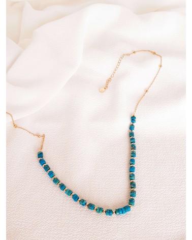 Collier en plaqué or et jaspe bleu