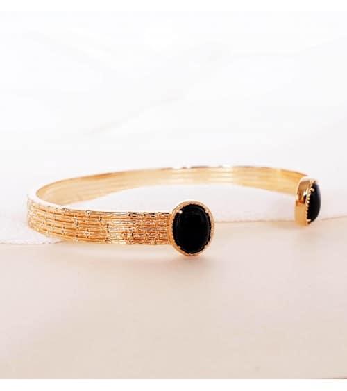 Bracelet rigide ouvert avec deux agates noires à ses extrémités