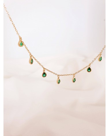 Collier en plaqué or avec pampilles en forme de gouttes serties de pierres vertes (longueur 40 cm réglable à 37,5 cm et 35 cm)