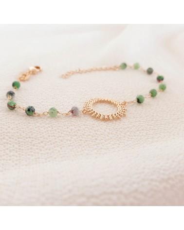 """Bracelet """"soleil"""" en plaqué or avec des pierres en rubis-zoïsite Longueur : 18cm ajustable à 15cm"""