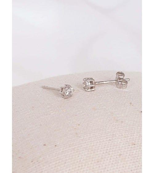 Boucles d'oreilles en argent 925/1000 rhodié à 6 griffes et à puces Diamètre : 3mm