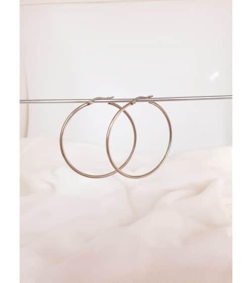 Boucles d'oreilles créoles en acier diamètre 50 mm