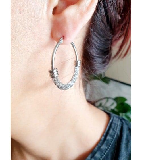 Boucles d'oreilles rondes ovales, en acier moitié tressé et moitié lisse