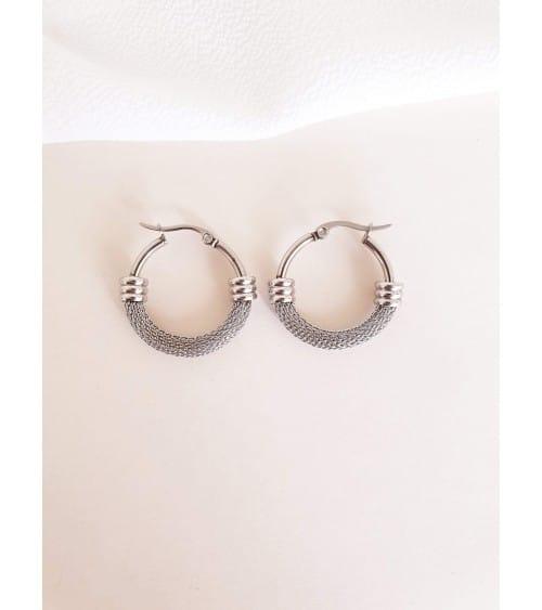 Boucles d'oreilles rondes, en acier moitié tressé et moitié lisse, en diamètre 20 mm