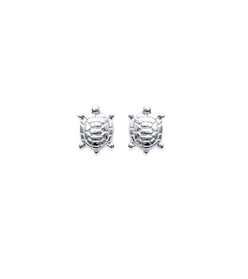 """Boucles d'oreilles """"tortue"""" en argent 925/1000 rhodié, avec poussettes"""