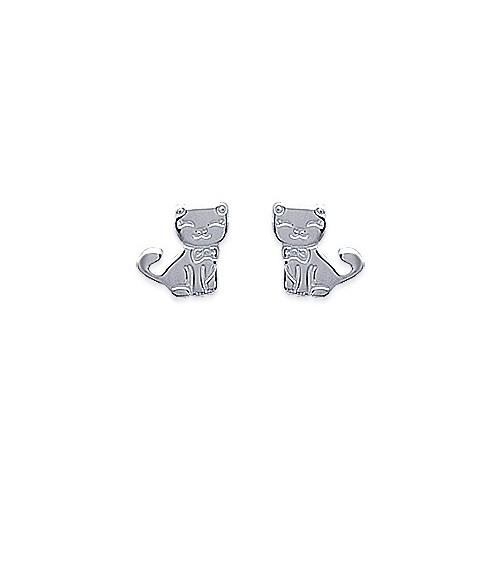 """Boucles d'oreilles """"chat"""" en argent 925/1000, avec poussettes"""