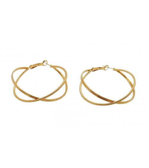 Boucles d'oreilles créoles entrecroisées, en plaqué or, avec un anneau strié brillant et l'autre strié mat (diamètre 50 mm)