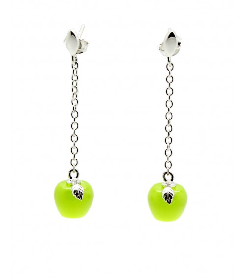 Boucles d'oreilles pendantes en argent 925/1000 rhodié, chaînette et pierre œil de chat vert anis en forme de pomme.