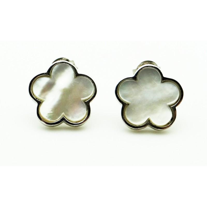 Diamond earrings boucles d oreilles argent et nacre - Poussette de boucle d oreille ...