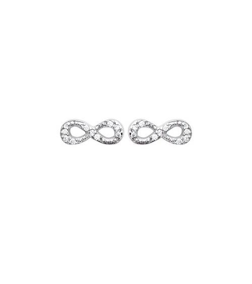 """Boucles d'oreilles """"infini"""" en argent 925/1000 et oxydes de zirconium blancs, avec poussettes"""