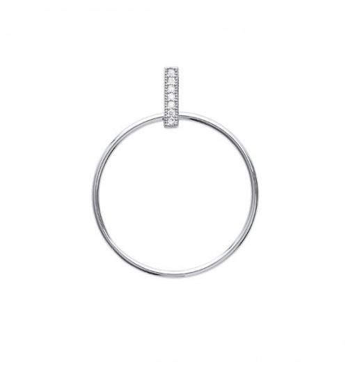 Pendentif rond en argent 925/1000 rhodié surmonté d'une barre sertie d'oxydes de zirconium blancs