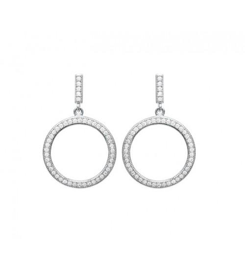 Boucles d'oreilles pendantes en argent 925/1000 rhodié et oxydes de zirconium blancs micro sertis, avec poussettes