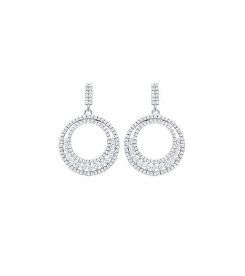 Boucles d'oreilles pendantes en argent 925/1000 rhodié et oxydes de zirconium blancs, avec poussettes