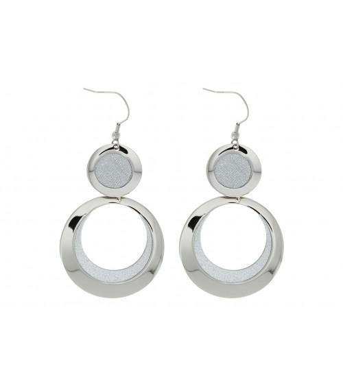 Boucles d'oreilles pendantes doubles anneaux agrémentés de strass, avec crochets