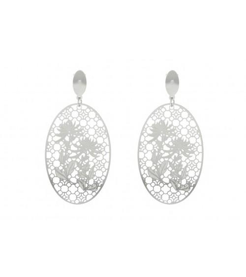 Boucles d'oreilles pendantes ajourées avec motif fleurs, en acier, avec poussettes
