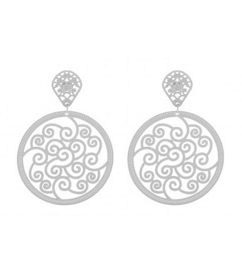 Boucles d'oreilles pendantes ajourées en acier, avec poussettes