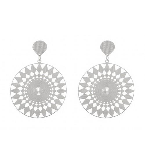 Boucles d'oreilles pendantes en acier à motif losanges, avec poussettes