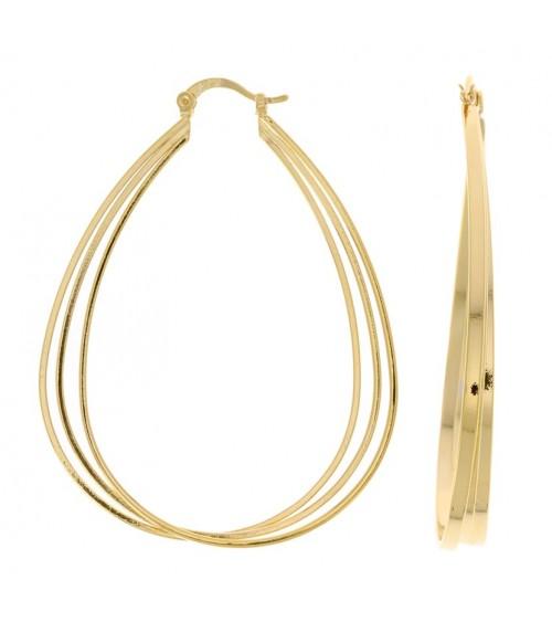 Boucles d'oreilles créoles ovales 3 rangs en plaqué or