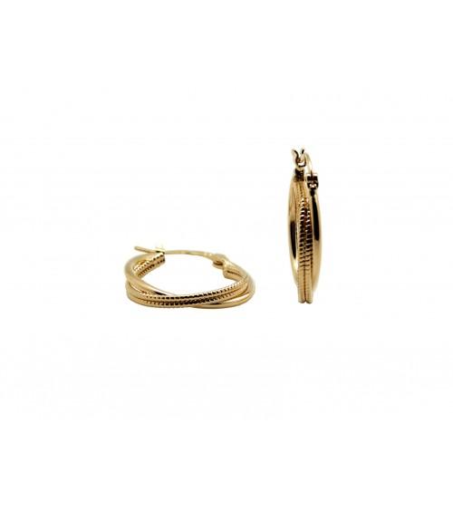 Boucles d'oreilles créoles en plaqué or avec deux anneaux entrecroisés, l'un lisse l'autre strié, diamètre 20 mm