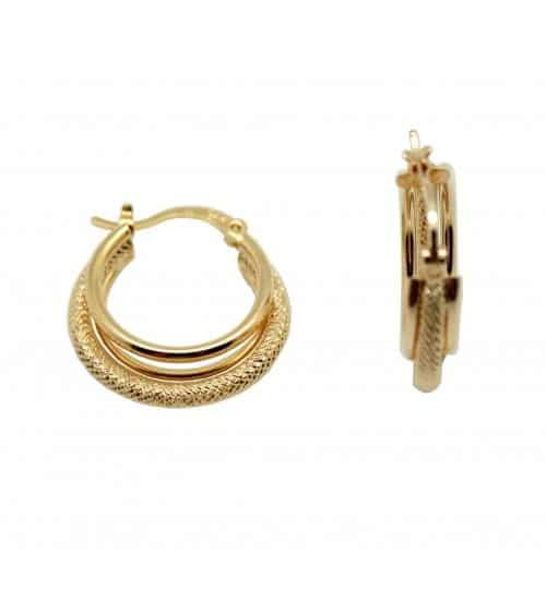 Boucles d'oreilles créoles à trois anneaux, deux lisses, le troisième strié en diamètre 20 mm