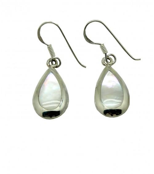 Boucles d'oreilles pendantes en argent 925/1000 et nacre