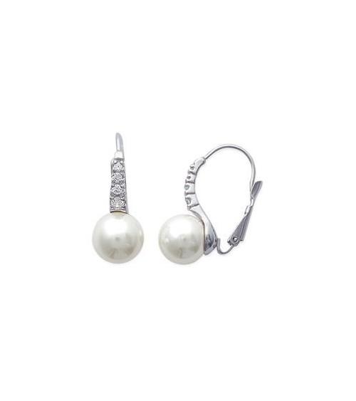 Boucles d'oreilles en argent 925/1000 rhodié et perle synthétique, avec fermeture dormeuse