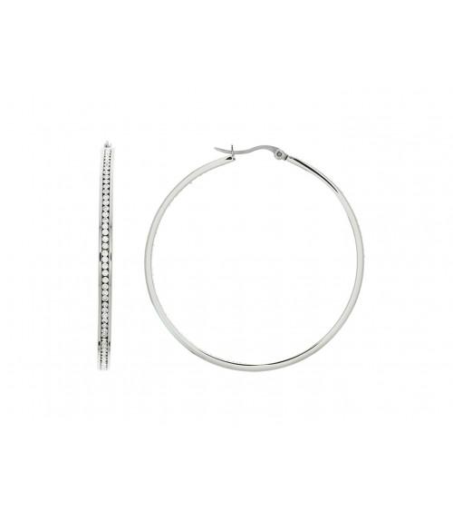 Créoles en acier et strass (diamètre 50 mm)