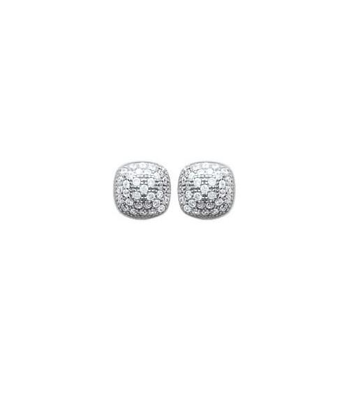 Boucles d'oreilles en argent 925/1000 rhodié et oxydes de zirconium, avec poussettes