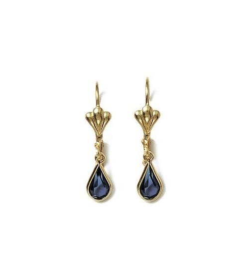 """Boucles d'oreilles en plaqué or et cristal teinté bleu avec fermeture """"dormeuse"""""""