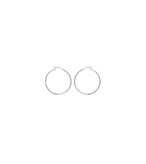 Boucles d'oreilles créoles en argent 925/1000 rhodié en diamètre 40 mm
