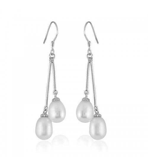 Boucles d'oreilles pendantes en argent 925/1000 et perles synthétiques, avec poussettes