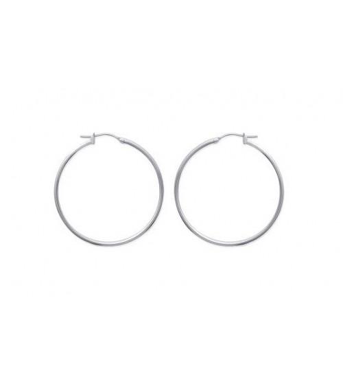 Boucles d'oreilles créoles en acier diamètre 40 mm