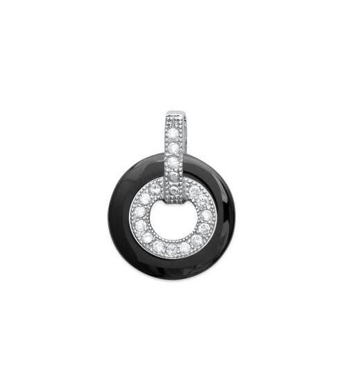 Pendentif seul en céramique noire monté sur argent 925/1000 rhodié, avec oxyde de zirconium blancs