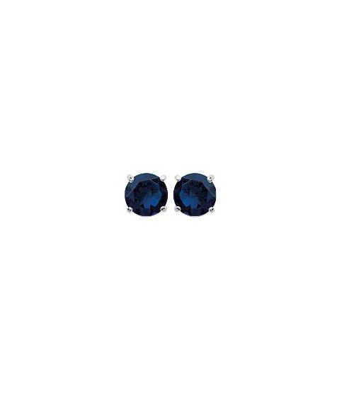 Boucles doreilles en argent 925/1000 rhodié et pierre de synthèse bleue 4 griffes, avec poussettes (diamètre  5 mm)