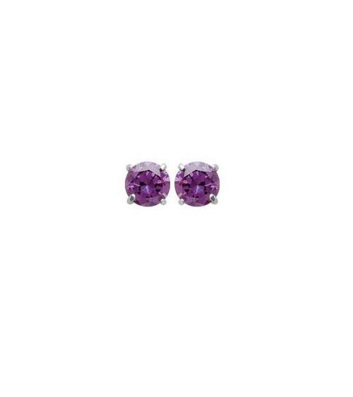 Boucles doreilles en argent 925/1000 rhodié et pierre de synthèse violette 4 griffes, avec poussettes (diamètre  5 mm)